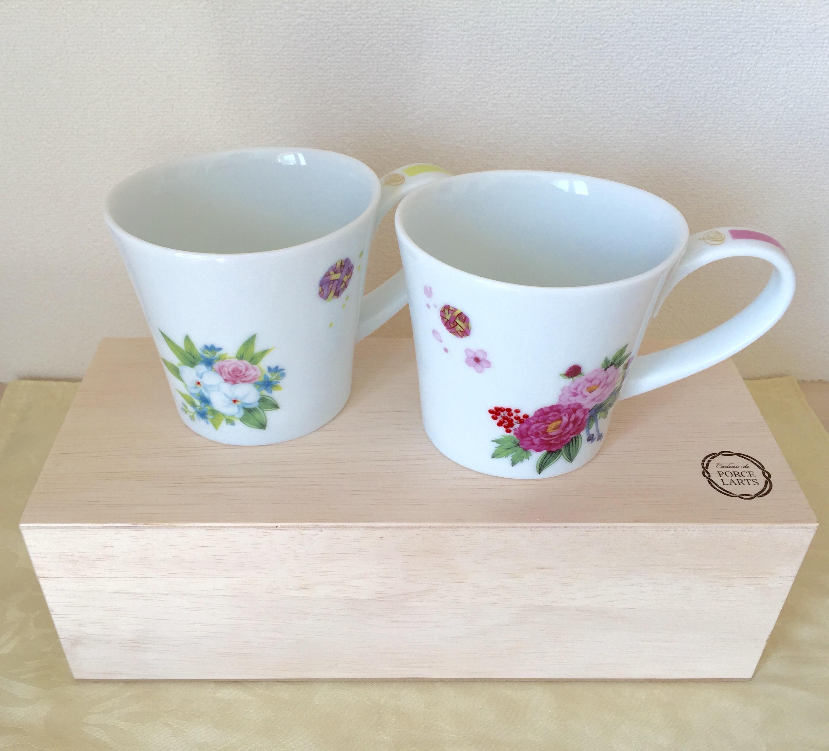牡丹と蘭のオーバル マグカップ ペア 和柄